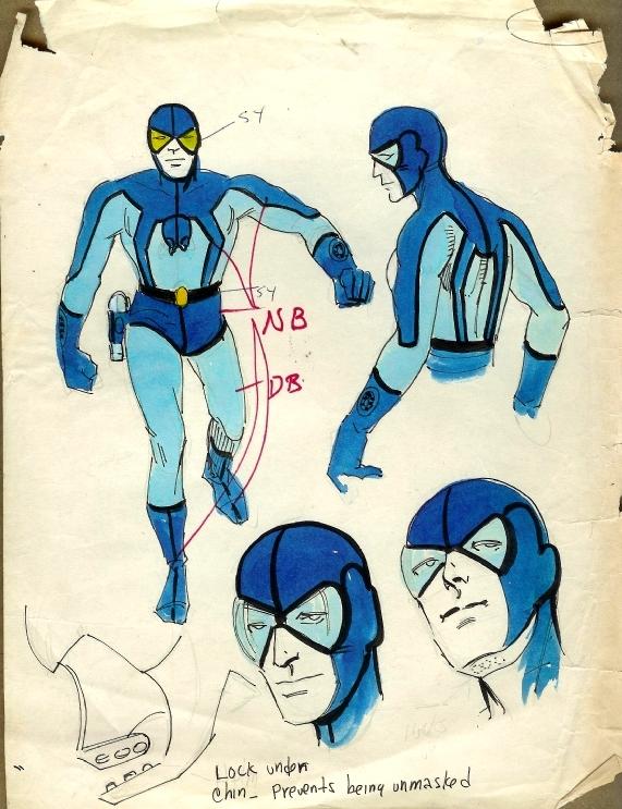 Steve ditko blue beetle concept art costume design, original art