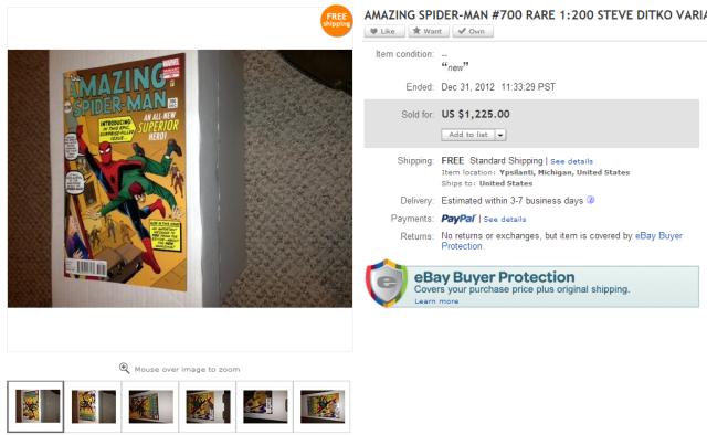 steve ditko, amazing spider-man, 700, variant, fantasy, 15, sold