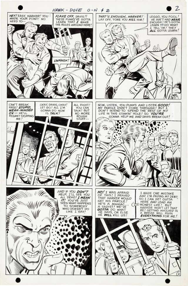 steve ditko hawk and the dove original art fs