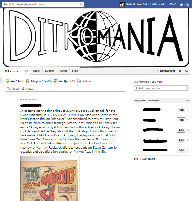 steve ditko ditkomania facebook page group