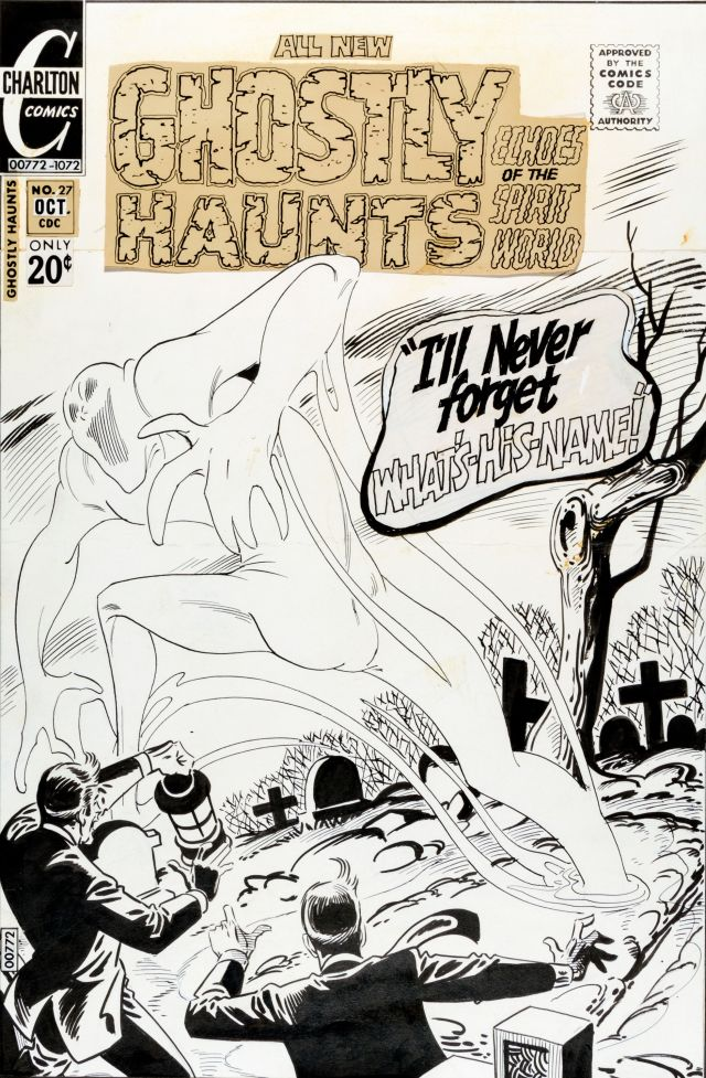 Steve Ditko Ghostly Haunts #27 Cover Original Art (Charlton, 1972)