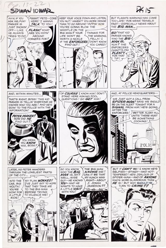 Steve Ditko Amazing Spider-Man 10 The Enforcers Page 13 Original Art Marvel, 1964