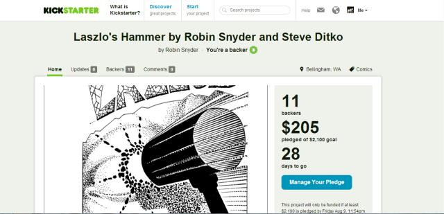 steve ditko robin snyder hammer kickstarter